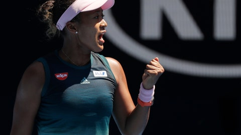 <p>               Japan's Naomi Osaka reacts after winning the first set against Ukraine's Elina Svitolina during their quarterfinal match at the Australian Open tennis championships in Melbourne, Australia, Wednesday, Jan. 23, 2019. (AP Photo/Kin Cheung)             </p>
