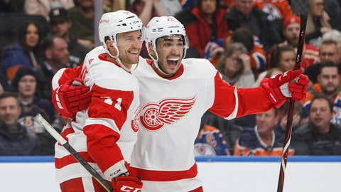 <p>               Detroit Red Wings' Luke Glendening (41) and Andreas Athanasiou (72) celebrate a goal during third period NHL action against the Edmonton Oilers, in Edmonton on Tuesday, Jan. 22, 2019. (Jason Franson/The Canadian Press via AP)             </p>
