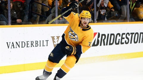 <p>               Nashville Predators left wing Viktor Arvidsson, of Sweden, celebrates after scoring his third goal of the night for a hat trick against the Washington Capitals, during the second period of an NHL hockey game Tuesday, Jan. 15, 2019, in Nashville, Tenn. (AP Photo/Mark Humphrey)             </p>