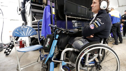 <p>               Alex Zanardi watches a video monitor in his pit stall during a practice session for the IMSA 24 hour race at Daytona International Speedway, Thursday, Jan. 24, 2019, in Daytona Beach, Fla. (AP Photo/John Raoux)             </p>