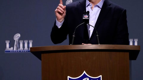 <p>               NFL Commissioner Roger Goodell answers a question during a news conference for the NFL Super Bowl 53 football game Wednesday, Jan. 30, 2019, in Atlanta. (AP Photo/David J. Phillip)             </p>