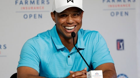 <p>               FILE - In this Jan. 24, 2018, file photo, Tiger Woods laughs during a news conference after finishing on the north course at Torrey Pines Golf Course during the pro-am event at the Farmers Insurance Open golf tournament, in San Diego. Woods is starting another year at Torrey Pines, this time with higher expectations. Woods announced Wednesday, Jan. 16, 2019, that he will play in the Farmers Insurance Open next week. (AP Photo/Gregory Bull, File)             </p>