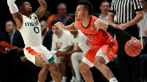 <p>               Virginia Tech guard Wabissa Bede (3) bumps Miami guard Chris Lykes (0) as he drives to the basket during the first half of an NCAA college basketball game Wednesday, Jan. 30, 2019, in Coral Gables, Fla. (AP Photo/Wilfredo Lee)             </p>