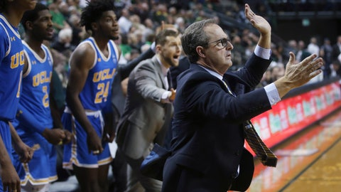 "<p>               FILE - In this Jan. 10, 2019, file photo, UCLA interim coach Murry Bartow, right, calls to his team in the closing seconds of regulation against Oregon in an NCAA college basketball game in Eugene, Ore. UCLA fired coach Steve Alford on New Year's Eve. Bartow was quickly tabbed as interim coach for the Bruins (10-7, 3-1 Pac-12). They've won three out of four games under him. ""We had a lot of ups and downs,"" UCLA freshman Moses Brown said, ""but I think we caught our stride and the sky is the limit for us."" (AP Photo/Chris Pietsch, File)             </p>"