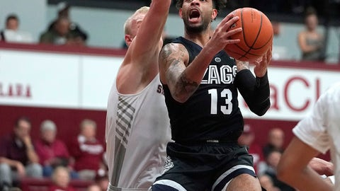 <p>               Gonzaga guard Josh Perkins (13) drives to the basket against Santa Clara forward Henrik Jadersten during the first half of an NCAA college basketball game Thursday, Jan. 24, 2019, in Santa Clara, Calif. (AP Photo/Tony Avelar)             </p>