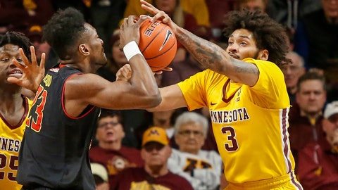 <p>               Maryland's Bruno Fernando (23) battles with Minnesota's Jordan Murphy (3) for the ball during an NCAA college basketball game Tuesday, Jan. 8, 2019, in Minneapolis. (AP Photo/Bruce Kluckhohn)             </p>