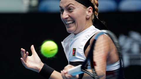 <p>               Petra Kvitova of the Czech Republic makes a forehand return to United States's Amanda Anisimova during their fourth round match at the Australian Open tennis championships in Melbourne, Australia, Sunday, Jan. 20, 2019. (AP Photo/Aaron Favila)             </p>