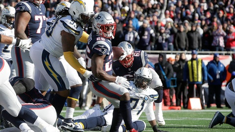 <p>               New England Patriots running back Sony Michel (26) scores a touchdown in front of Los Angeles Chargers defensive tackle Darius Philon (93) during the first half of an NFL divisional playoff football game, Sunday, Jan. 13, 2019, in Foxborough, Mass. (AP Photo/Steven Senne)             </p>