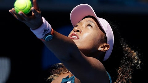 <p>               Japan's Naomi Osaka serves to Taiwan's Hsieh Su-Wei during their third round match at the Australian Open tennis championships in Melbourne, Australia, Saturday, Jan. 19, 2019. (AP Photo/Kin Cheung)             </p>
