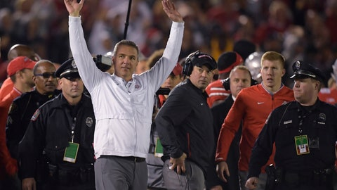 <p>               Ohio State coach Urban Meyer celebrates the team's 28-23 win over Washington during the Rose Bowl NCAA college football game Tuesday, Jan. 1, 2019, in Pasadena, Calif. (AP Photo/Mark J. Terrill)             </p>
