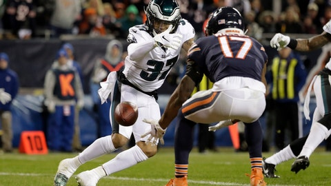 <p>               FILE - In this Jan. 6, 2019, file photo, Chicago Bears wide receiver Anthony Miller (17) misses a catch under pressure from Philadelphia Eagles defensive back Tre Sullivan (37) during the first half of an NFL wild-card playoff football game, in Chicago. When injuries ravaged the secondary, the Philadelphia Eagles turned to inexperienced guys and castoffs. The no-names are making themselves known.(AP Photo/Nam Y. Huh, File)             </p>