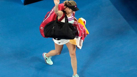 <p>               United States' Danielle Collins waves as she leaves Rod Laver Arena after losing her semifinal against Petra Kvitova of the Czech Republic at the Australian Open tennis championships in Melbourne, Australia, Thursday, Jan. 24, 2019. (AP Photo/Aaron Favila)             </p>