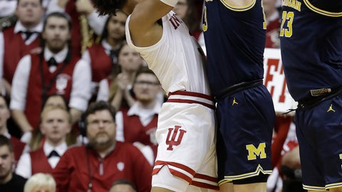 <p>               Indiana's Justin Smith (3) has his shot blocked by Michigan's Ignas Brazdeikis (13) during the first half of an NCAA college basketball game Friday, Jan. 25, 2019, Bloomington, Ind. (AP Photo/Darron Cummings)             </p>