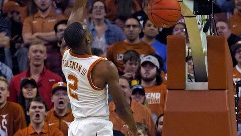 <p>               Texas guard Matt Coleman, III dunks the ball during the first half of an NCAA college basketball game against Texas Tech, Saturday, Jan. 12, 2019, in Austin, Texas. (AP Photo/Michael Thomas)             </p>