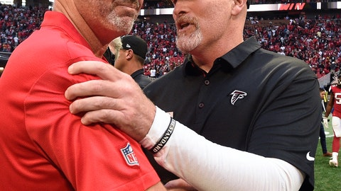 <p>               FILE - In this Oct. 14, 2018, file photo, then-Tampa Bay Buccaneers head coach Dirk Koetter, left, speaks with Atlanta Falcons head coach Dan Quinn after an NFL football game, in Atlanta. Falcons coach Quinn says the team's outside zone scheme won't change with newly hired offensive coordinator Dirk Koetter.  (AP Photo/John Amis, File)             </p>