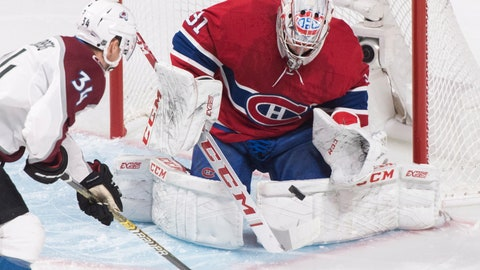 <p>               Montreal Canadiens goaltender Carey Price makes a save against Colorado Avalanche's Carl Soderberg during the first period of an NHL hockey game Saturday, Jan. 12, 2019, in Montreal. (Graham Hughes/The Canadian Press via AP)             </p>