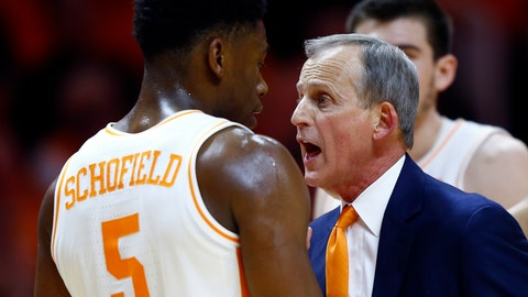 <p>               Tennessee head coach Rick Barnes talks to guard Admiral Schofield (5) after he was called for a flagrant foul in the second half of an NCAA college basketball game against West Virginia, Saturday, Jan. 26, 2019, in Knoxville, Tenn. Tennessee won 83-66. (AP Photo/Wade Payne)             </p>