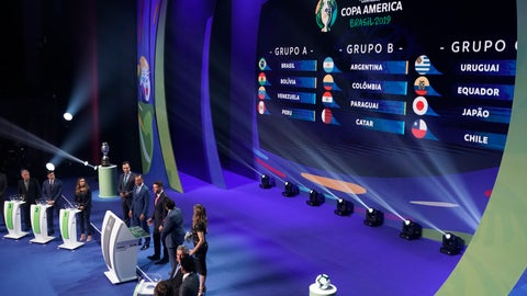 <p>               Groups are displayed during the draw for the 2019 Copa America soccer tournament in Rio de Janeiro, Brazil, Thursday, Jan. 24, 2019. Brazil will host the continental soccer tournament in June and July. (AP Photo/Leo Correa)             </p>