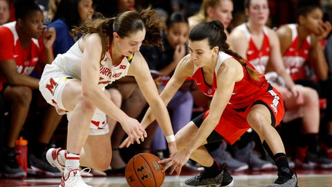 <p>               Ohio State guard Carmen Grande, right, attempts to steal possession of the ball from Maryland guard Taylor Mikesell in the first half of an NCAA college basketball game, Saturday, Jan. 5, 2019, in College Park, Md. (AP Photo/Patrick Semansky)             </p>