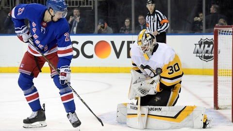 <p>               Pittsburgh Penguins goaltender Matt Murray (30) makes a save as New York Rangers center Brett Howden (21) looks for a rebound during the second period of an NHL hockey game Wednesday, Jan. 2, 2019, at Madison Square Garden in New York. (AP Photo/Bill Kostroun)             </p>