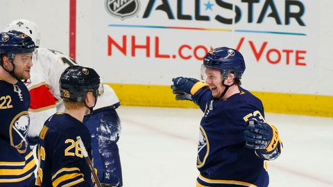 <p>               Buffalo Sabres forward Jeff Skinner (53) celebrates his goal with teammates during the first period of an hockey game against the Florida Panthers, Thursday, Jan. 3, 2019, in Buffalo N.Y. (AP Photo/Jeffrey T. Barnes)             </p>