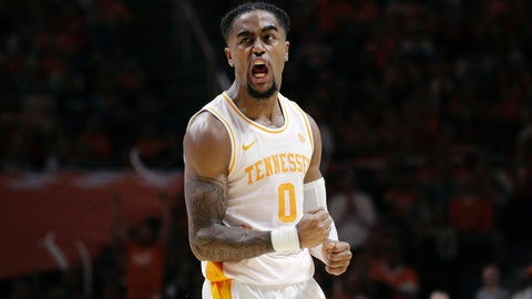 <p>               Tennessee guard Jordan Bone (0) reacts from a foul made by Alabama in the second half of an NCAA college basketball game, Saturday, Jan. 19, 2019, in Knoxville, Tenn. Tennessee won 71-68 (AP Photo/Shawn Millsaps)             </p>