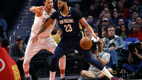 <p>               FILE- In this Jan. 14, 2019, file photo New Orleans Pelicans' Anthony Davis, right, dribbles against Los Angeles Clippers' Danilo Gallinari during the first half of an NBA basketball game in Los Angeles. Davis' agent says the five-time All-Star has told the New Orleans Pelicans that he wants to be traded to a contending team. Agent Rich Paul confirmed the request to The Associated Press early Monday, Jan. 28. (AP Photo/Ringo H.W. Chiu, File)             </p>