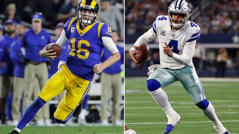 <p>               FILE - At left, in a Dec. 16, 2018, file photo, Los Angeles Rams quarterback Jared Goff carries the ball during an NFL football game against the Philadelphia Eagles, in Los Angeles. At right, in a Nov. 22, 2018, file photo, Dallas Cowboys quarterback Dak Prescott (4) scrambles against the Washington Redskins during the first half of an NFL football game, in Arlington, Texas. The Rams and Cowboys meet in a divisional playoff game on Saturday, Jan. 12, 2019.  (AP Photo/File)             </p>