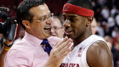 <p>               FILE - In this Dec. 5, 2017, file photo, Nebraska coach Tim Miles celebrates with Glynn Watson Jr., who scored 29 points, following the team's NCAA college basketball game against Minnesota, in Lincoln, Neb. Watson is the only remaining member of Nebraska's five-man 2015 recruiting class who is still on the roster, and Miles calls the senior the leader of a team that is on track to make the NCAA Tournament for the first time since 2014. (AP Photo/Nati Harnik, File)             </p>