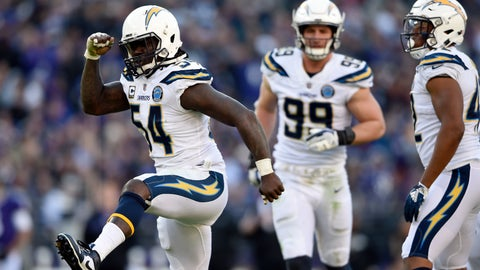 <p>               Los Angeles Chargers defensive end Melvin Ingram (54) celebrates after sacking Baltimore Ravens quarterback Lamar Jackson in the second half of an NFL wild card playoff football game, Sunday, Jan. 6, 2019, in Baltimore. (AP Photo/Gail Burton)             </p>