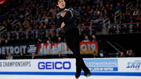 <p>               Nathan Chen performs during the men's free skate at the U.S. Figure Skating Championships, Sunday, Jan. 27, 2019, in Detroit. (AP Photo/Paul Sancya)             </p>