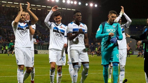 <p>               Atalanta's players celebrate at the end of the Italian Cup, quarterfinal soccer match between Cagliari and Atalanta, at the Sardegna Arena in Cagliari, Italy, Monday, Jan. 14, 2019. Atalanta left it late to win at Cagliari 2-0 to set up an Italian Cup quarterfinal against Juventus. (Fabio Murru/ANSA via AP)             </p>