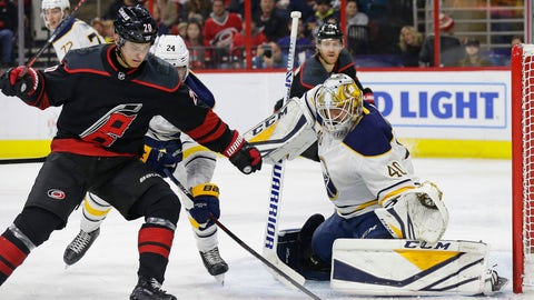 <p>               Carolina Hurricanes' Sebastian Aho (20), of Finland, looks for a shot on goal in front of Buffalo Sabres goalie Carter Hutton (40) during the second period of an NHL hockey game in Raleigh, N.C., Friday, Jan. 11, 2019. (AP Photo/Gerry Broome)             </p>