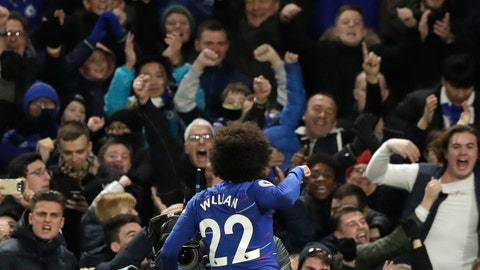 <p>               Chelsea's Willian celebrates his side's second goal during the English Premier League soccer match between Chelsea and Newcastle United at Stamford Bridge stadium in London, Saturday, Jan. 12, 2019. (AP Photo/Matt Dunham)             </p>