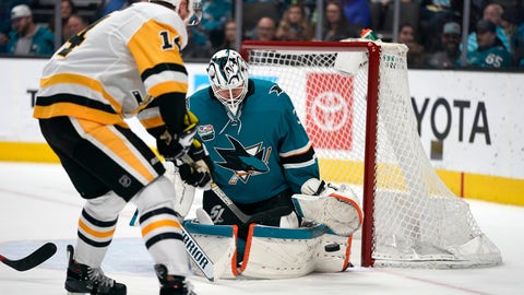 <p>               San Jose Sharks goaltender Martin Jones (31) defends on a shot from Pittsburgh Penguins left wing Tanner Pearson (14) during the second period of an NHL hockey game in San Jose, Calif., Tuesday, Jan. 15, 2019. (AP Photo/Tony Avelar)             </p>