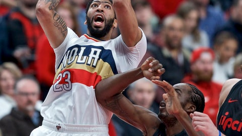 <p>               New Orleans Pelicans forward Anthony Davis, left, shoots next to Portland Trail Blazers forward Al-Farouq Aminu during the first half of an NBA basketball game in Portland, Ore., Friday, Jan. 18, 2019. (AP Photo/Craig Mitchelldyer)             </p>