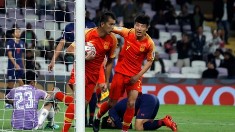 <p>               China's forward Xiao Zhi celebrates after scoring his side's opening goal during the AFC Asian Cup round of 16 soccer match between Thailand and China at the Hazza Bin Zayed stadium in Al Ain, United Arab Emirates, Sunday, Jan. 20, 2019. (AP Photo/Hassan Ammar)             </p>