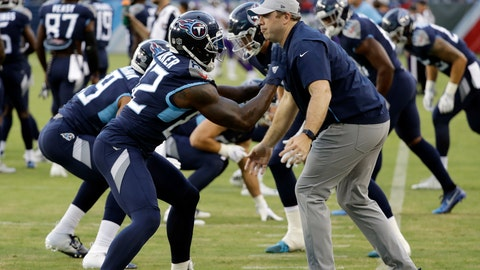 """<p>               File-This Aug. 30, 2018, file photo shows Tennessee Titans tight ends coach Arthur Smith, right, helping tight end Delanie Walker (82) warm up before a preseason NFL football game in Nashville, Tenn. Mike Vrabel has stayed inside the Tennessee Titans' organization for his new offensive coordinator, promoting tight ends assistant Smith to the job vacated when Matt LaFleur left for the Green Bay Packers' head coaching job. Vrabel announced the promotion Monday, jan. 21, 2019, saying he's excited for both Smith and the Titans to promote a """"deserving coach.""""(AP Photo/James Kenney, File)             </p>"""
