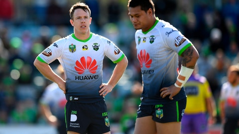 <p>               In this Aug. 12, 2018, photo, Canberra Raiders' Sam Williams, left, and Joey Leilua react during a Round 22 NRL rugby match between the Canberra Raiders and the Wests Tigers at GIO Stadium in Canberra, Australia. An Australian football team says it wants to continue Huawei's longest-ever sports sponsorship despite the Chinese communication giant's legal wrangle with the United States and its ban from Australia's 5G networks. Huawei has been the major sponsor of the Raiders since 2012 and will consider this year extending its first sponsorship contract with a sports team anywhere in the world. (Lukas Coch/AAP Images via AP)             </p>