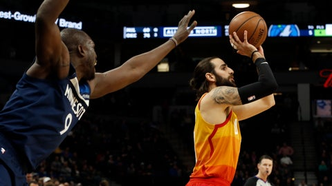 <p>               Minnesota Timberwolves' Luol Deng, left, looms in as Utah Jazz's Ricky Rubio, of Spain, shoots in the first half of an NBA basketball game Sunday, Jan. 27, 2019, in Minneapolis. (AP Photo/Jim Mone)             </p>