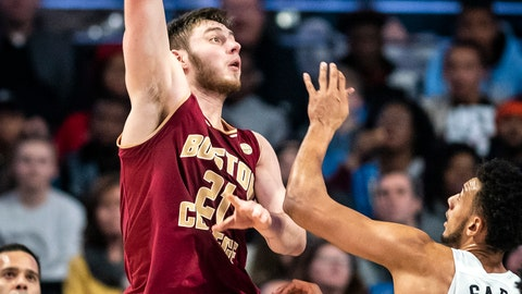 <p>               Boston College forward Nik Popovic (21) shoots over Wake Forest center Olivier Sarr (30)  during an NCAA college basketball game, Saturday, Jan. 26, 2019, in Winston-Salem, N.C. (Andrew Dye/The Winston-Salem Journal via AP)             </p>