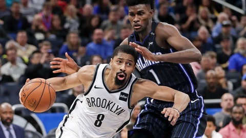 <p>               Brooklyn Nets' Spencer Dinwiddie (8) goes to the basket past Orlando Magic's Jonathan Isaac (1) during the second half of an NBA basketball game Friday, Jan. 18, 2019, in Orlando, Fla. (AP Photo/John Raoux)             </p>