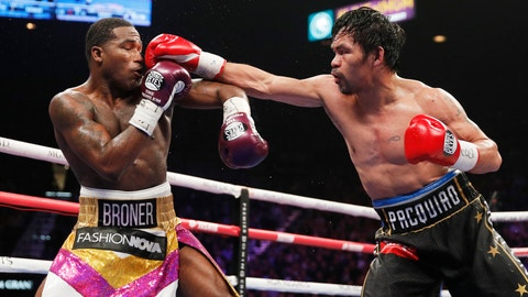 <p>               FILE - In this Saturday, Jan. 19, 2019, file photo, Manny Pacquiao, right, fights Adrien Broner in a welterweight championship bout in Las Vegas. A spokesman for Pacquiao says the famed fighter's Los Angeles home was robbed at about the time he was in the ring with rival Adrien Broner in Las Vegas. Spokesman Mike Quinn confirmed the burglary to NBC News. Los Angeles police said a burglary was reported about 4:15 p.m. Sunday, Jan. 20, 2019. in the Larchmont neighborhood. (AP Photo/John Locher, File             </p>