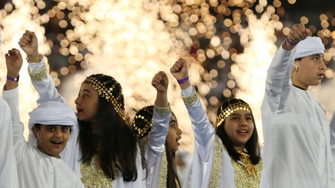 <p>               Emirati youth perform the traditional dance during the AFC Asian Cup opening ceremony at Zayed Sport City in Abu Dhabi, United Arab Emirates, Saturday, Jan. 5, 2019. (AP Photo/Kamran Jebreili)             </p>
