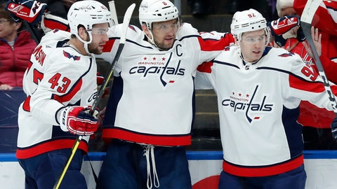 <p>               Washington Capitals' Alex Ovechkin, of Russia, is congratulated by Tom Wilson (43) and Evgeny Kuznetsov, right, after scoring during the first period of an NHL hockey game against the St. Louis Blues Thursday, Jan. 3, 2019, in St. Louis. (AP Photo/Jeff Roberson)             </p>