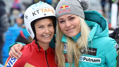 "<p>               FILE - In this Friday, Jan.19, 2018 file photo, United States' Julia Mancuso, left, smiles next to United States' Lindsey Vonn at an alpine ski, women's World Cup downhill, in Cortina D'Ampezzo, Italy. Lindsey Vonn is finally ready to open her injury-delayed final full season on the skiing World Cup circuit — and she couldn't be happier to do it in Cortina d'Ampezzo. Vonn says, ""If there's a place — minus Lake Louise — that I could make a return then I think Cortina would be No. 1 on my list."" Vonn has won 12 of her 82 World Cup victories in Cortina. (AP Photo/Alessandro Trovati)             </p>"