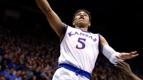 <p>               Kansas' Quentin Grimes goes to the basket during the first half of the team's NCAA college basketball game against Oklahoma on Wednesday, Jan. 2, 2019, in Lawrence, Kan. (AP Photo/Charlie Riedel)             </p>