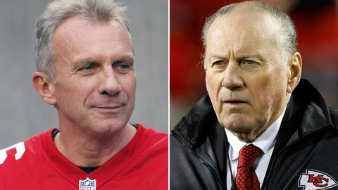 <p>               FILE - At left, in a Dec. 20, 2015, file photo, Joe Montana is shown during halftime of an NFL football game in Santa Clara, Calif. At right, in an Oct. 30, 2017, file photo, former Kansas City Chiefs quarterback Len Dawson stands on the sidelines during the second half of an NFL football game between the Chiefs and Denver Broncos in Kansas City, Mo. Montana was the quarterback the last time the Kansas City Chiefs reached the AFC title game. Dawson was under center the last time they played in the Super Bowl. For one of the NFL's proudest franchises, the wait to reach this weekend has been a long one, and the chance to hoist the Lamar Hunt Trophy _ named after the Chiefs' founder _ has the city on the edge of its collective seat. (AP Photo/File)             </p>