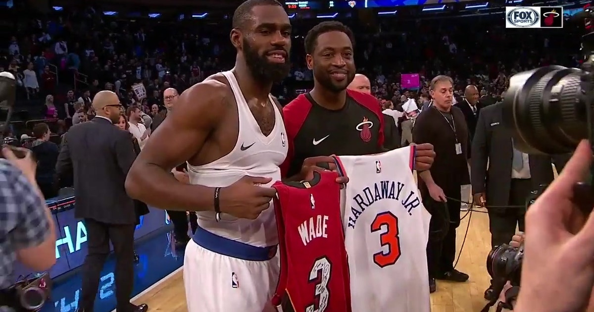 b55e105576b One Last Dance  Dwyane Wade swaps jerseys with Tim Hardaway Jr. at MSG