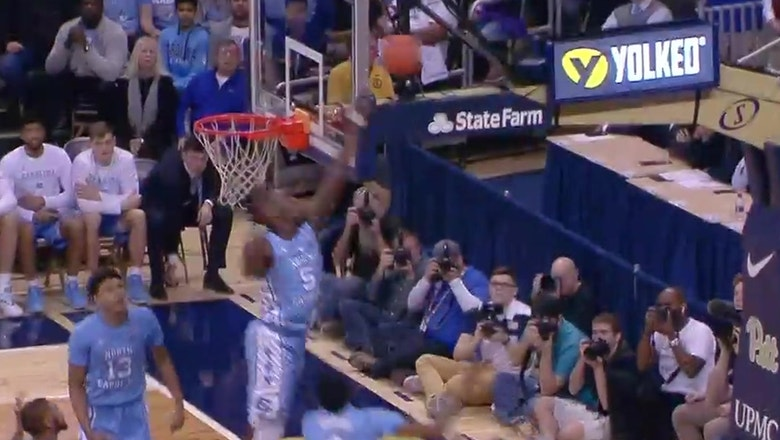 North Carolina's Nassir Little has a monster rejection against Pittsburgh
